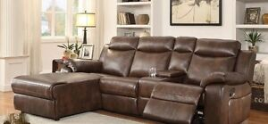 Sectional chaise with console, recliner,and push back chaise NEW