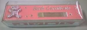 Elegance Silver Pink Enamel Baby Birth Certificate Holder