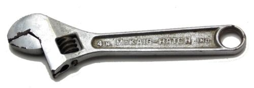 """McKaig-Hatch 4"""" Crescent Adjustable Wrench Model 204 Made in USA Used"""