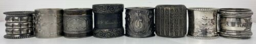 Victorian NAPKIN RING Lot 8 Silverplate Silver Napkin Holders Vintage Antique