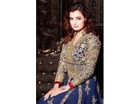 Cheap blue and gold Indian Anarkali Dress for sale!