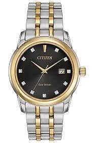 Citizen Mens Eco-Drive Two Tone Watch with Diamond Accents  Bm7344-54e