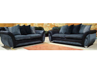 Dfs 3 + 2 Seater Sofas - Grey/Black. Can deliver