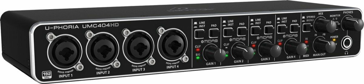 NEW Behringer UMC404HD U-Phoria 4x4 USB Audio Interface 4-Midas mic preamps