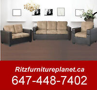 BONDED LEATHER/FABRIC SOFA ONLY