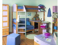 Stompa Casa 9 High Sleeper Bed with Blue sofa / slide out bed - inc. Mattress