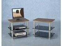 Hollyville Walnut Vaneer and Black Glass TV Unit Stand