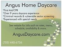 Full-Time Daycare avail in Angus starting August