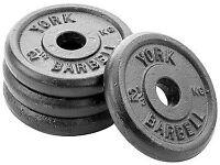 York Standard Cast Iron Discs, 4 x 7.5kg