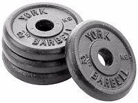 York Standard Cast Iron Discs, 4 x 7.5kg plus York 5ft (152 cm) Spinlock Bar