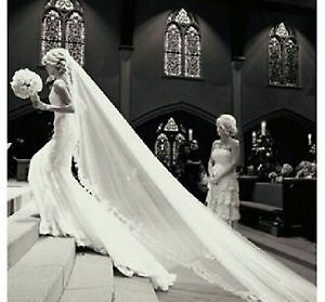 WOW WEDDING VEIL WITH LUXARY LACE DETAILS ALL AROUND!