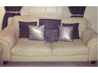 3 seater leather cream sofa