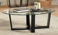 COFFEE TABLE IN OVALE SHAPE TREMPED GLASS WITH BLACK METAL FEET