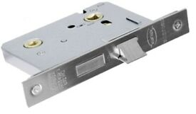 NEW BATHROOM LOCK GRIDLOCK - SILVER FINISH 64mm /2.5 INCH (IN ORIGINAL PACKAGING)