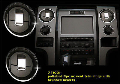 Ford F-150 Raptor Interior Stainless Steel A/c Vent Trim Rings Acc-771001