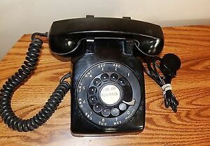BLACK ROTARY DIAL DESK TOP PHONE