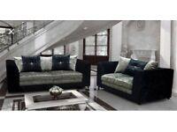 New Bella crushed Velvet 3&2 sofas