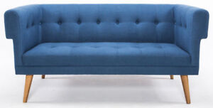 loveseat mid century modern w/ solid wood legs and blue fabric