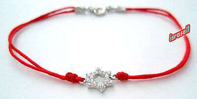 KABBALAH RED STRING BRACELET WITH JEWISH STAR OF DAVID - CZ Crystals & Silver