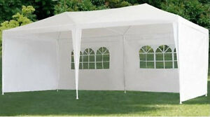 New White 10 x 20 PE Gazebo Outdoor Canopy Party Tent With Side Walls