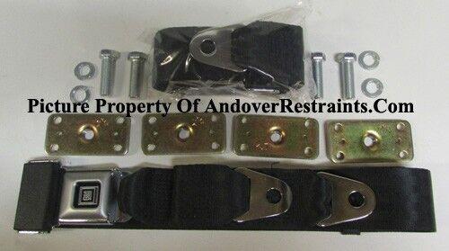 """GM Buckle Non Retractable Black Lap Seat Belts (2) + Retrofit Mounting Kit: 60"""""""