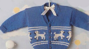 Knitting Pattern- Baby Lamb Cardigan in 4 Ply wool- Fits 16-22 chest
