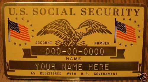 Metal Social Security Card Ebay