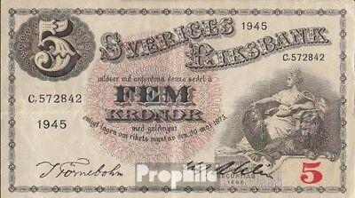 Schweden Pick-Nr: 33ab (1945) gebraucht (III) 1945 5 Kronor