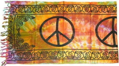 PEACE Altar Cloth / Sarong, 22 x 72 Wicca, Witch, Pagan TIE DYE tapestries