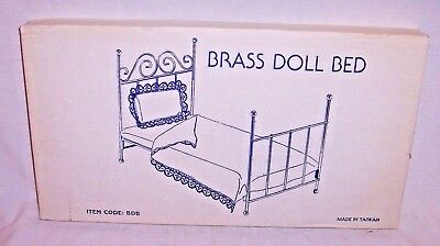 """NEW OLD STOCK VINTAGE DOLL BRASS BED NEW IN BOX THAT MEASURES 19 """" X 10 1/2 """""""