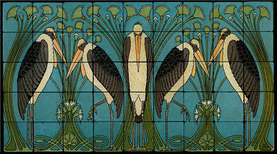 Art Nouveau Cranes Still Life Marble Tile Mural Backsplash 36x20 William Morris