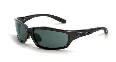 Crossfire 241 Infinity Crystal Black Frame Safety Sunglasses With Smoke Lenses
