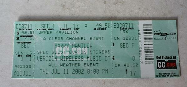 Barry Manilow 2002 Concert Ticket Stub Verizon Wireless Music Center Indiana