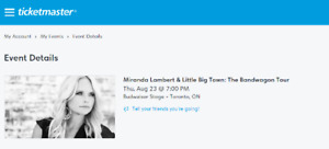 Miranda Lambert & Little Big Town FLOOR SEATS