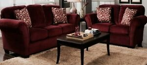 Two red sofa