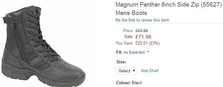 Magnum panther 8 inch side zip boots size 8