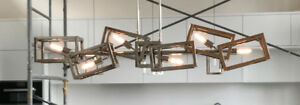 """Contemporary 60"""" chrome dining room chandelier"""