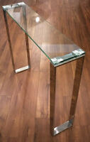 CHROME AND GLASS COFFEE TABLE AND CONSOLE TABLE