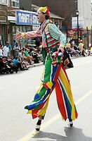 """FLOATING"" CLOWN Stilts Juggler - Shopping Mall Community Events"