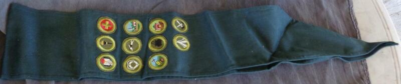 Vintage Scouting Sash with 11 Merit Badges - VGC - NICE COLLECTIBLE SCOUT ITEM