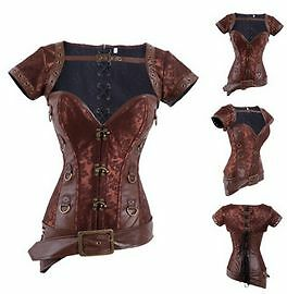 Steel Boned Corset Women Steampunk Corset Black or Brown