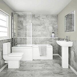 L Shaped Shower Bath Bathroom Suite, Best price in Belfast