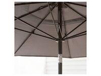 New round garden parasol - wind up with tilt mechanism