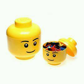 Lego storage heads large and small