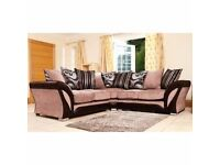 DFS QUALITY- CORNER SOFA LARGE IN SIZE WITH MULTIPLE SACTER BACK LOVEL DESIGN CUSHION -SAME DAY DROP