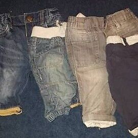 4 pairs 0-3 months trousers. 3 jeans 1 NEXT cosy/smart trousures