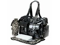 OiOi Black Patent Carryall Designer Nappy Changing Baby Bag Oi Oi