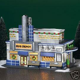 DEPT 56  CHRISTMAS IN THE CITY  BLUE LINE BUS DEPOT