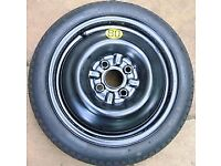 4X100 Space saver spare wheel. Never used. To fit rover 45/25 or MG