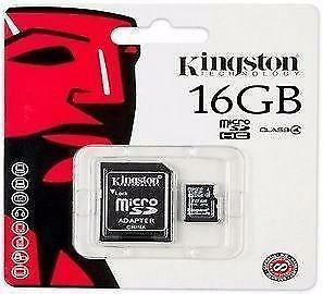 Original Authentic Genuine OEM Kingston 16GB MicroSD Storage Memory Card with SD Adapter